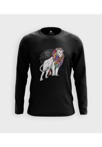 MegaKoszulki - Koszulka męska z dł. rękawem Tęczowy lew. Materiał: bawełna