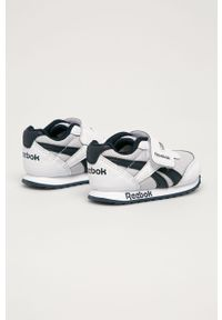 Białe buty sportowe Reebok Classic z okrągłym noskiem, na rzepy, Reebok Royal, z cholewką