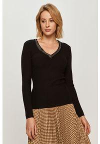 Czarny sweter Morgan z długim rękawem, długi, z aplikacjami