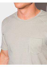 Ombre Clothing - T-shirt męski bawełniany S1384 - szary - XXL. Kolor: szary. Materiał: bawełna. Długość: długie. Styl: sportowy, klasyczny