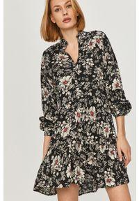 Czarna sukienka Answear Lab w kwiaty, na co dzień, mini, rozkloszowana