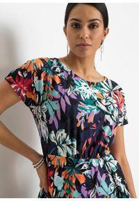 Sukienka z nadrukiem bonprix pomarańczowo-bez w roślinny wzór. Kolor: pomarańczowy. Wzór: nadruk