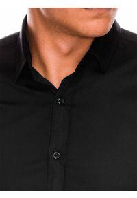 Ombre Clothing - Koszula męska slim z długim rękawem K504 - czarna - XXL. Typ kołnierza: kołnierzyk klasyczny. Kolor: czarny. Materiał: elastan, bawełna. Długość rękawa: długi rękaw. Długość: długie. Styl: klasyczny, elegancki