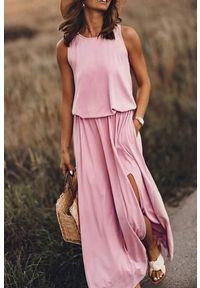 Różowa długa sukienka IVET na lato