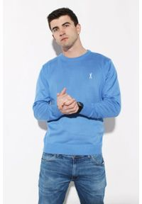 Niebieski sweter Edward Orlovski z haftami, elegancki