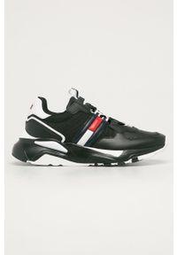 Czarne buty sportowe Tommy Jeans na sznurówki, z okrągłym noskiem, z cholewką