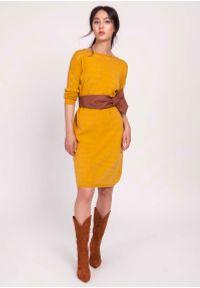 Lanti - Musztardowa Prosta Sukienka z Dzianiny Swetrowej. Kolor: żółty. Materiał: dzianina. Typ sukienki: proste