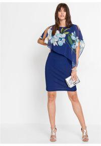 Sukienka ołówkowa z szyfonową narzutką bonprix kobaltowy - orchidee. Kolor: niebieski. Materiał: szyfon. Wzór: nadruk. Typ sukienki: ołówkowe