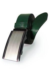 Zielony męski pasek z automatyczną klamrą KMG40. Kolor: zielony. Materiał: jeans, skóra. Styl: klasyczny, elegancki