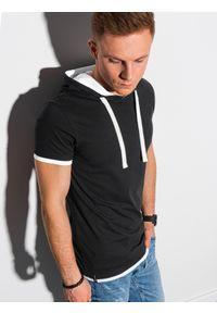 Czarny t-shirt Ombre Clothing z kapturem