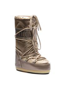 Moon Boot - Śniegowce MOON BOOT - Glance 14016800001 Platino D. Zapięcie: sznurówki. Kolor: złoty. Materiał: skóra ekologiczna, materiał. Szerokość cholewki: normalna