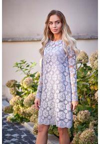 Szara sukienka MOE w koronkowe wzory, wizytowa, trapezowa