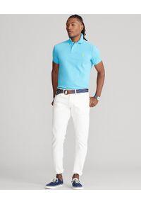 Ralph Lauren - RALPH LAUREN - Turkusowa koszulka polo Slim Fit Mesh. Typ kołnierza: polo. Kolor: niebieski. Materiał: mesh. Długość: długie. Wzór: haft