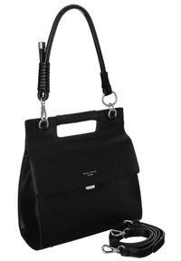 Czarna torebka DAVID JONES skórzana, elegancka, gładkie