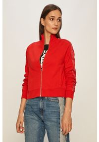 Czerwona bluza rozpinana Karl Lagerfeld z aplikacjami, bez kaptura, raglanowy rękaw