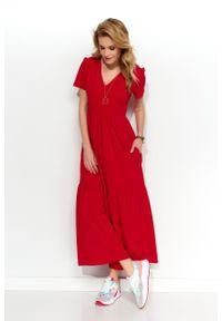 e-margeritka - Sukienka dzianinowa maxi czerwona - 40. Okazja: na co dzień. Kolor: czerwony. Materiał: dzianina. Styl: klasyczny, casual. Długość: maxi