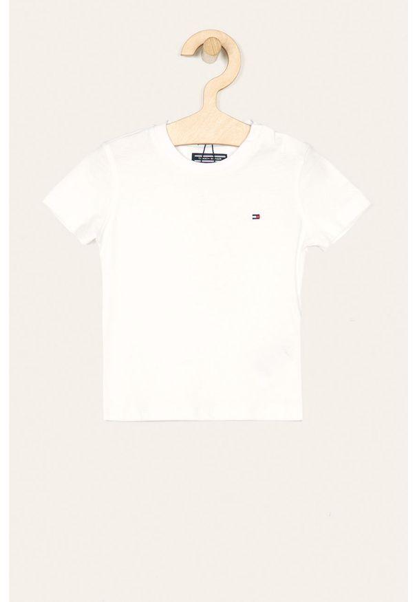 Biały t-shirt TOMMY HILFIGER casualowy, z okrągłym kołnierzem, na co dzień