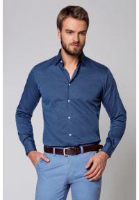 Niebieska koszula Lancerto z haftami