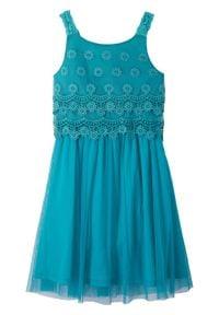 Sukienka dziewczęca na uroczyste okazje bonprix ciemnoturkusowy. Kolor: zielony