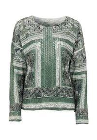 Cellbes Sweter we wzory khaki we wzory female zielony/ze wzorem 42/44. Kolor: zielony. Długość rękawa: długi rękaw. Długość: długie. Wzór: haft, ażurowy