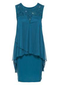 Sukienka z dżerseju i szyfonu bonprix ciemna zieleń morska. Kolor: niebieski. Materiał: jersey, szyfon. Styl: elegancki