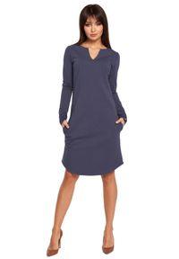 BE - Klasyczna sukienka z lekko zaokrąglonym dołem. Okazja: na co dzień. Materiał: dresówka, bawełna, dzianina, materiał, elastan. Długość rękawa: długi rękaw. Styl: klasyczny