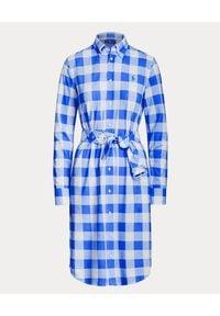 Ralph Lauren - RALPH LAUREN - Sukienka w niebiesko-białą kratę. Okazja: na co dzień. Typ kołnierza: polo. Kolor: biały. Materiał: bawełna. Długość rękawa: długi rękaw. Typ sukienki: proste. Styl: klasyczny, casual