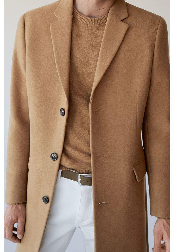 Brązowy płaszcz Mango Man casualowy, na co dzień