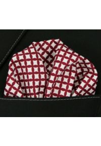 Czerwona poszetka Chattier w geometryczne wzory
