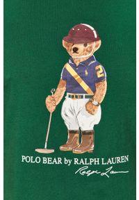 Zielony t-shirt Polo Ralph Lauren polo, z nadrukiem, na co dzień, casualowy