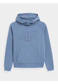 4f - Bluza dresowa nierozpinana z kapturem dziewczęca. Typ kołnierza: kaptur. Kolor: niebieski. Materiał: dresówka. Długość rękawa: raglanowy rękaw