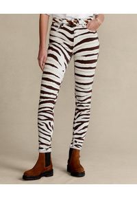 Ralph Lauren - RALPH LAUREN - Spodnie ze wzorem zwierzęcym Skinny. Kolor: czarny. Materiał: materiał. Wzór: motyw zwierzęcy