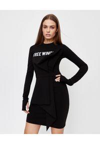 OFF-WHITE - Asymetryczna sukienka mini. Kolor: czarny. Wzór: nadruk. Typ sukienki: asymetryczne. Styl: sportowy, rockowy. Długość: mini