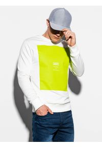 Biała bluza Ombre Clothing bez kaptura, z nadrukiem, klasyczna