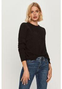 Czarny sweter Trussardi Jeans z okrągłym kołnierzem, na co dzień, długi