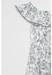 Biała sukienka Mango Kids z dekoltem typu hiszpanka, mini, w kwiaty, rozkloszowana