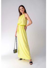Żółta sukienka wieczorowa Nommo maxi, w kwiaty