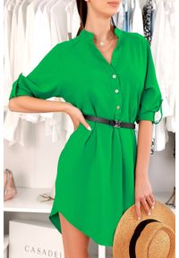 Zielona tunika IVET na lato, w kolorowe wzory, elegancka
