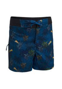 OLAIAN - Spodenki Surfing Bs 500 Tiger Dla Dzieci. Kolor: niebieski, wielokolorowy, turkusowy. Materiał: poliester, materiał. Długość: krótkie