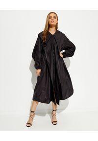 ALEXANDRE VAUTHIER - Czarny płaszcz z kapturem. Typ kołnierza: kaptur. Kolor: czarny. Materiał: materiał. Długość rękawa: długi rękaw. Długość: długie. Styl: klasyczny