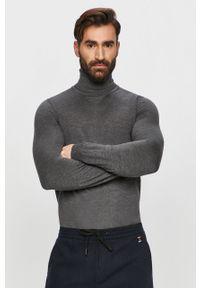 Szary sweter Hugo z golfem, na co dzień, długi