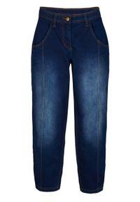Dżinsy 7/8 z regulowanym paskiem w talii, szerokie nogawki bonprix ciemnoniebieski denim. Kolor: niebieski