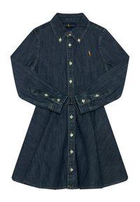 Niebieska sukienka Lauren Ralph Lauren na co dzień, prosta