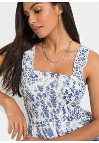 Sukienka z nadrukiem i przeszyciem cienkimi gumkami bonprix biel wełny - niebieski w roślinny wzór. Kolor: biały. Materiał: wełna. Wzór: nadruk