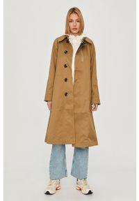 Oliwkowy płaszcz G-Star RAW bez kaptura, raglanowy rękaw