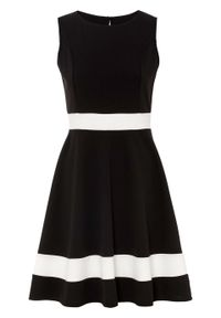 Sukienka bonprix czarno-biel wełny. Kolor: czarny. Materiał: wełna