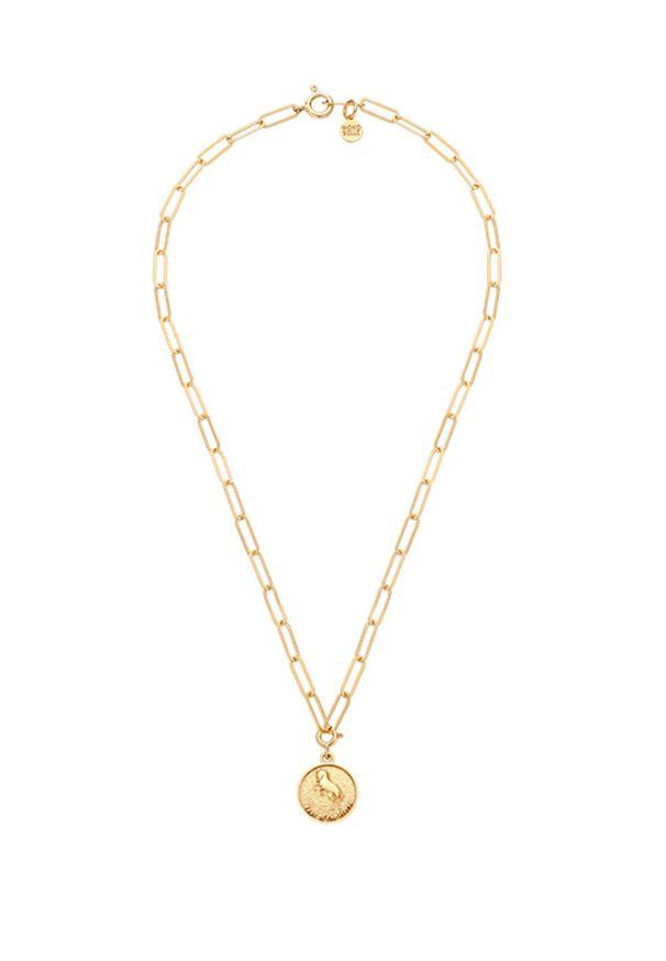 MOKOBELLE - Naszyjnik łańcuch z chińskim zodiakiem - KOŃ. Materiał: pozłacane. Kolor: złoty