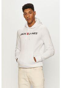 Jack & Jones - Bluza. Okazja: na co dzień. Typ kołnierza: kaptur. Kolor: biały. Wzór: nadruk. Styl: casual