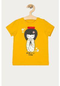 Żółta bluzka z krótkim rękawem Name it casualowa, z nadrukiem, na co dzień