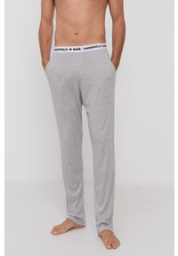 Karl Lagerfeld - Spodnie piżamowe. Kolor: szary. Materiał: lyocell, bawełna, dzianina, materiał, tkanina, jedwab. Wzór: gładki